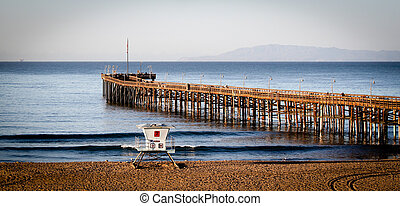 The Ventura Pier with Santa Cruz Island in the background