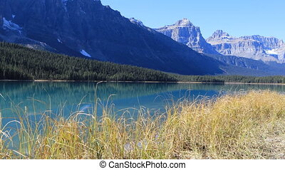 Vermillion Lakes and mountains near Banff in Canada