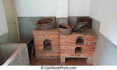 very old outdated kitchen made by brick