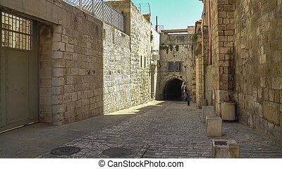 The Via Dolorosa is the narrow street inside the walled town
