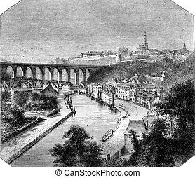 The Viaduct in Dinan, North Sides, vintage engraving. - The...