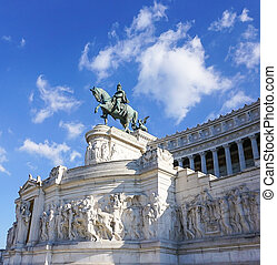The Victor Emmanual Monument or Monument Vittorio Emanuele in the Piazza Venezia in Rome, Italy
