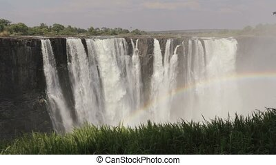 The Victoria falls with mist from w - The Victoria falls is ...