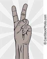 The Victory sign, hand gesture