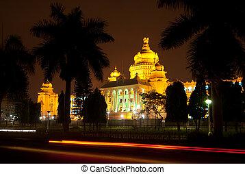 The Vidhana Soudha in Bangalore, the Karnataka state legislature building, at night