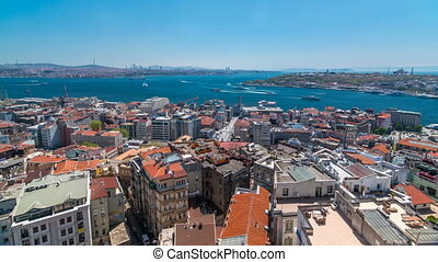 The view from Galata Tower to Galata Bridge timelapse Golden Horn, Istanbul, Turkey