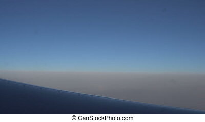 The view from the airplane window. beautiful blue sky