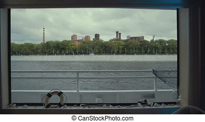 the view from the boat sailing on the Moscow river