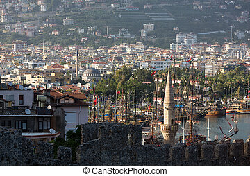 The view from the castle on the old port. Alanya, Turkey