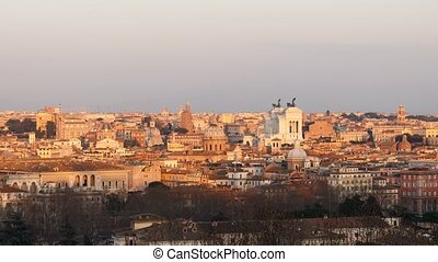 The view from the Janiculum Hill (Gianicolo). Sunset. Rome. Italy. Time Lapse