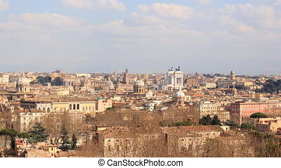 The view from the Janiculum Hill (Gianicolo). Zoom. Rome, Italy. Time Lapse