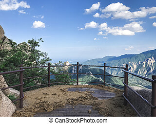 The view from the mountain peak of Seoraksan National Park. ...