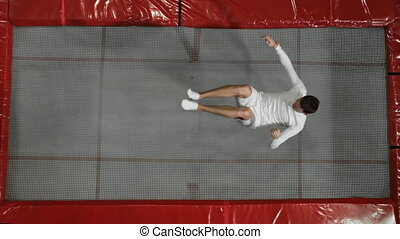 The view from the top gymnast acrobat dressed in white...