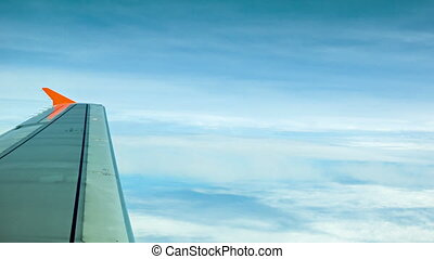 The view from the window of a passenger aircraft. Altitude...