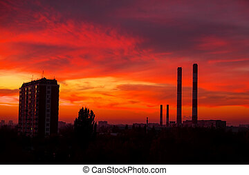 The view from the window on the residential area of Moscow in the evening. Colorful beautiful sunset.