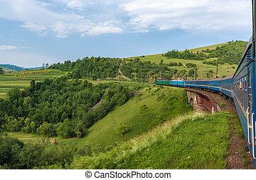 View from train window on bridge