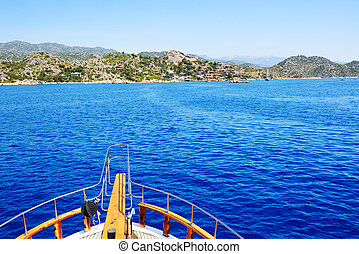 The view from yacht on bay and castle in Kekova, Turkey