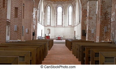 The view inside the big church in Tartu