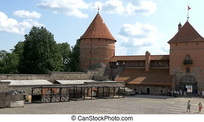 The view inside the Trakai medieval castle in Lithuania