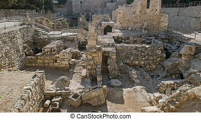 the view looking west at the pool of bethesda in jerusalem