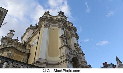 The view of catholic cathedral church in Ukraine on panoramic view