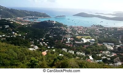 The view of Charlotte Amalie historic downtown on St. Thomas...
