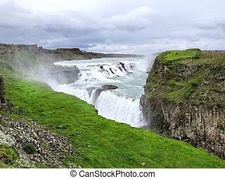 The view of Gullfoss waterfall