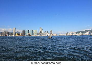 View of Hong Kong Skyline at blue sky