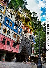 he view of Hundertwasser house in Vienna (Wien), Austria