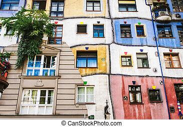 The view of Hundertwasser house in Vienna