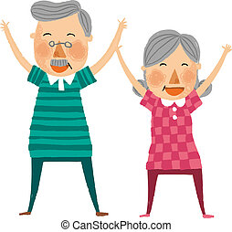The view of old couple is exercising