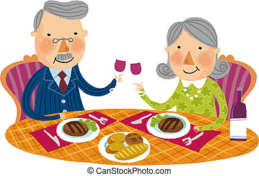 The view of old couple is having a dinner