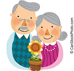 The view of old couple is holding a pot