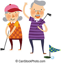 The view of old couple is playing a golf