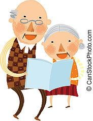 The view of old couple is reading a book