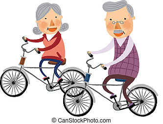 The view of old couple is riding a bike
