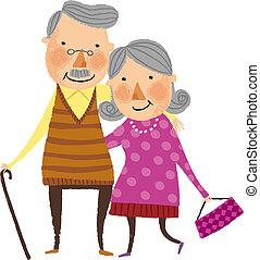 The view of old couple