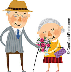 The view of old couple - The view of old woman is holding a...