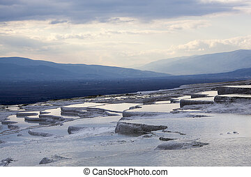 World Heritage - The view of Pamukkale's terraces full of...