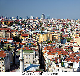 The view of residental houses in Galata region of Istanbul....