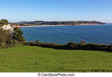 The view of Seaton Bay from the small Devon seaside village of Beer