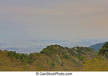 View of several Japanese cities in the Kansai region