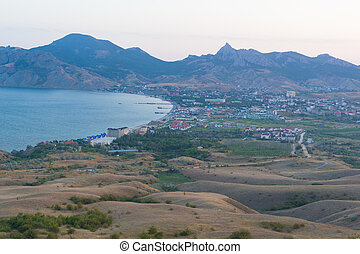 The view of the city of Koktebel in the Crimea, Russia