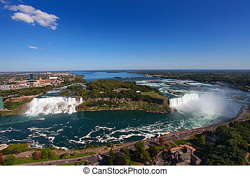 Niagara Falls - The view of the Niagara Falls, Ontario,...
