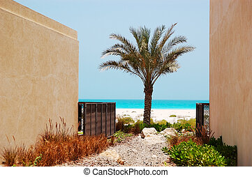 The view on a beach from arabic style modern villa at luxury hot