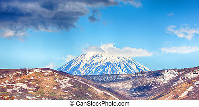 view on active Koryaksky Volcano on the Kamchatka Peninsula