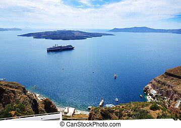 The view on Aegean sea and cruise ship, Santorini island, ...