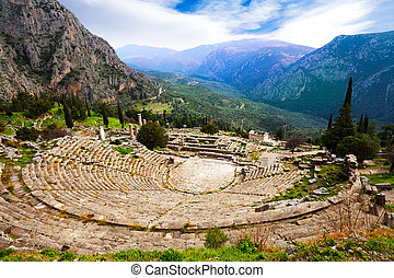 The view on amphitheater, Delphi - The beautiful view on ...