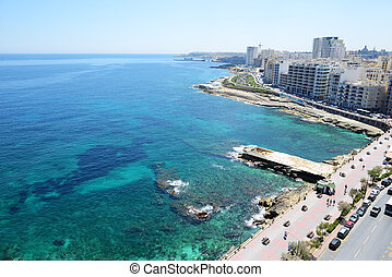 The view on beach and seafront, Malta