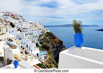 The view on Fira town and Aegean sea, Santorini island, ...